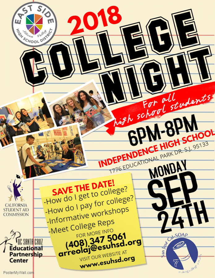 ESUHSD College Night is 9 24 from 6-8PM