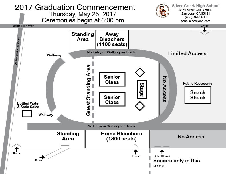 Map of Graduation Setup: Silver Creek High School Stadium